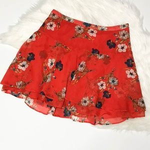 Old Navy Red/Orange Floral Flounce Skirt 10